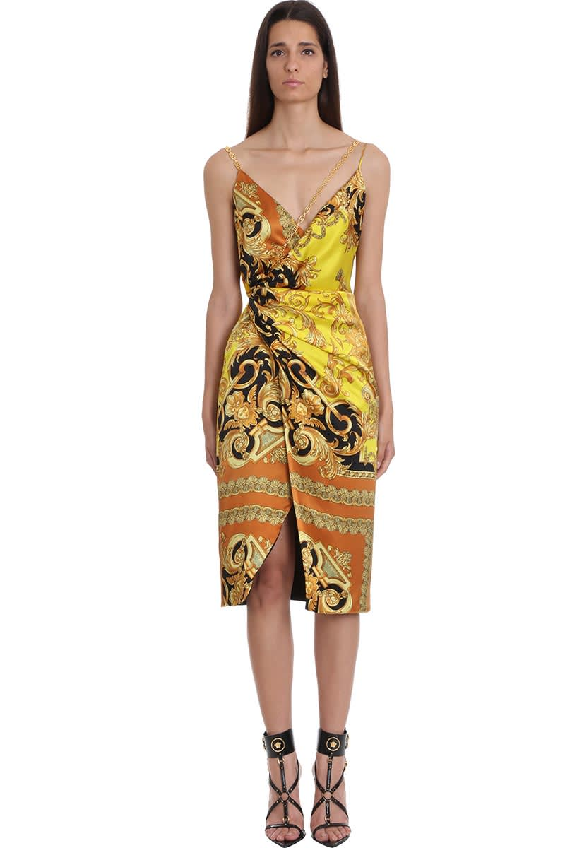 Buy Versace Dress In Yellow Silk online, shop Versace with free shipping