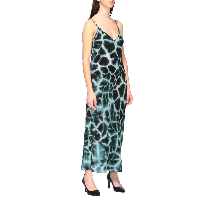 Roberto Cavalli Dress With Silk Braces With Giraffe Print In Cobalto