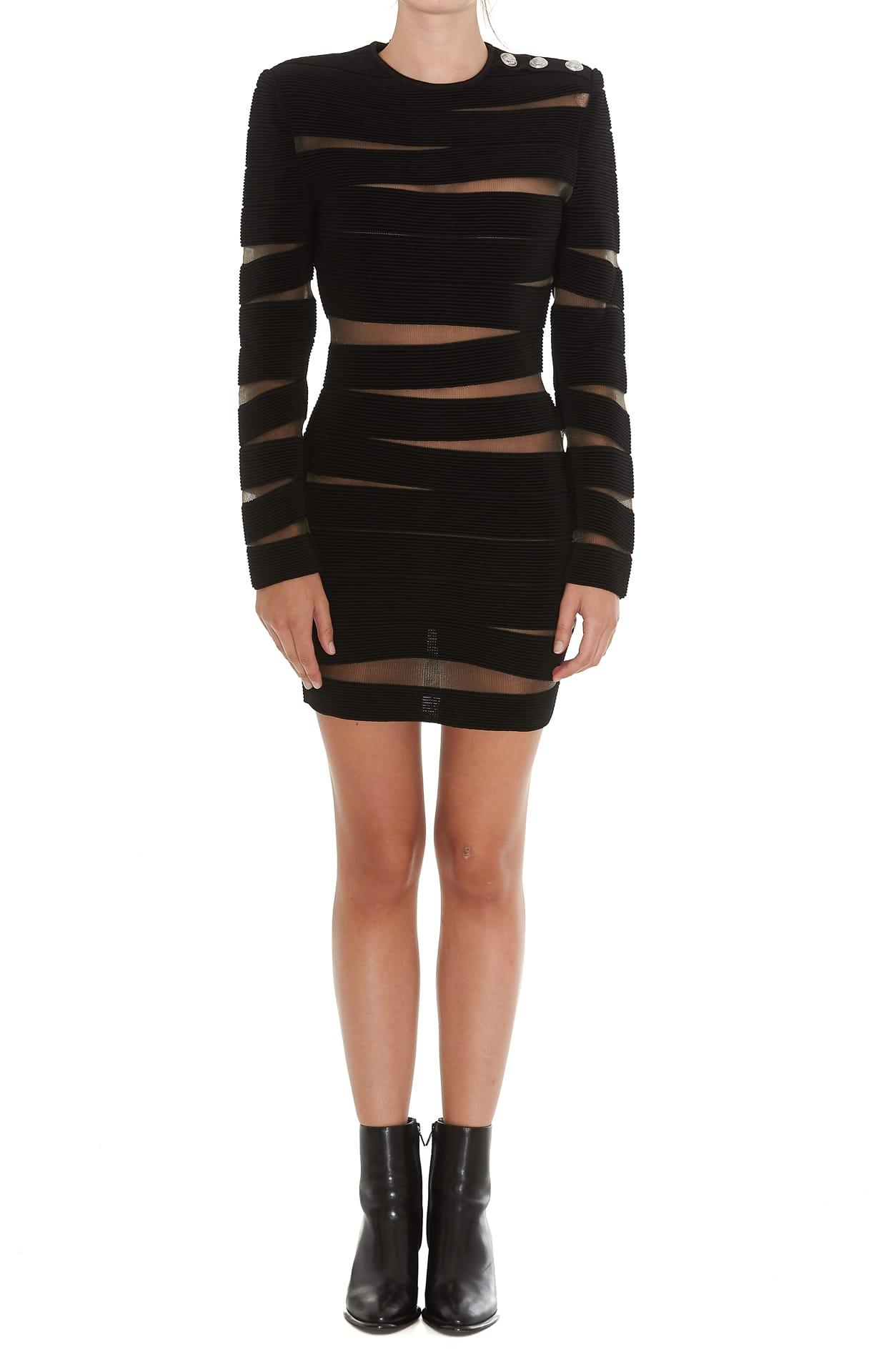 Balmain Open Knit Mini Dress
