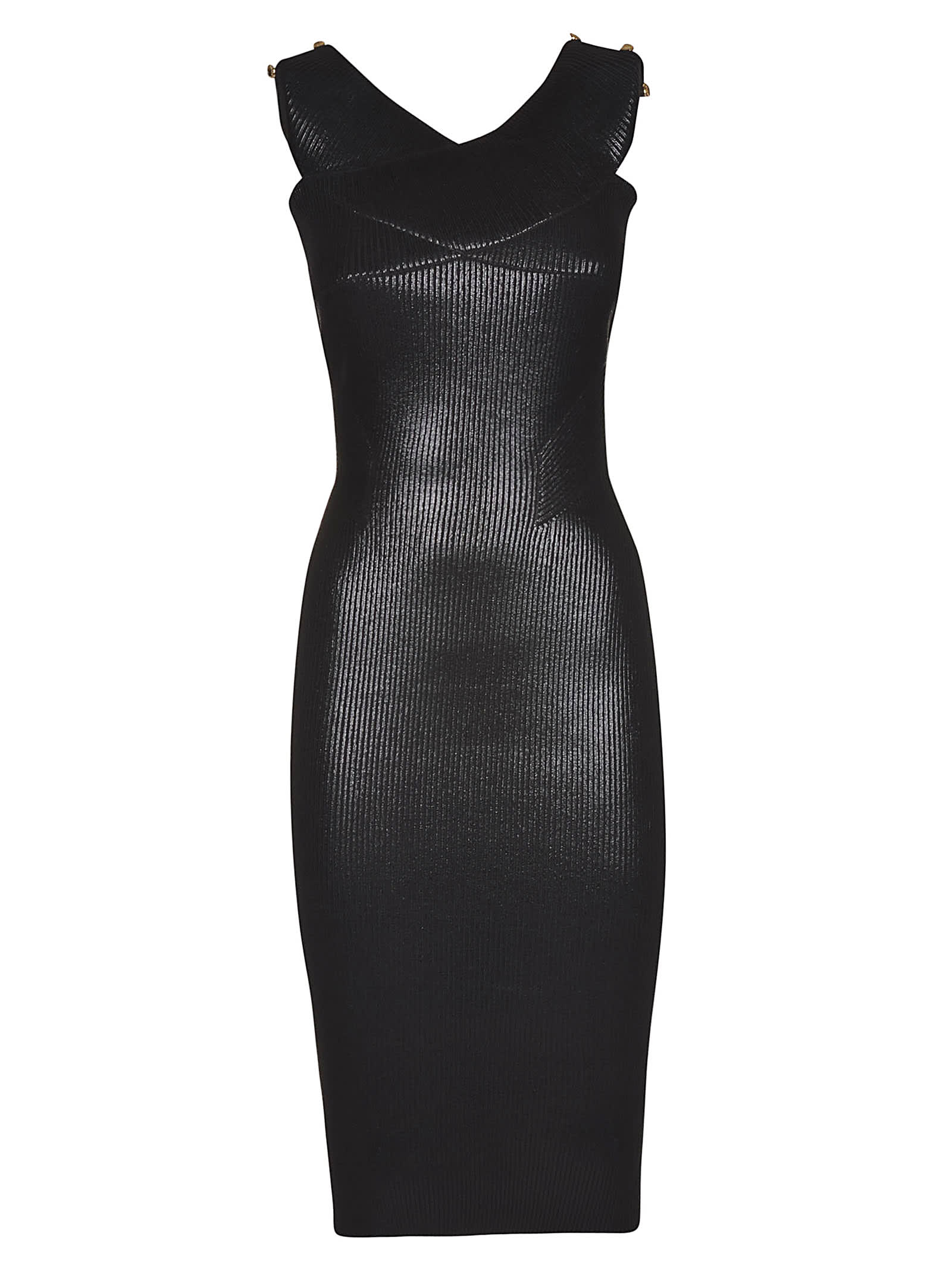 Photo of  Versace Jeans Couture Laminated Ribbed Dress- shop Versace Jeans Couture  online sales