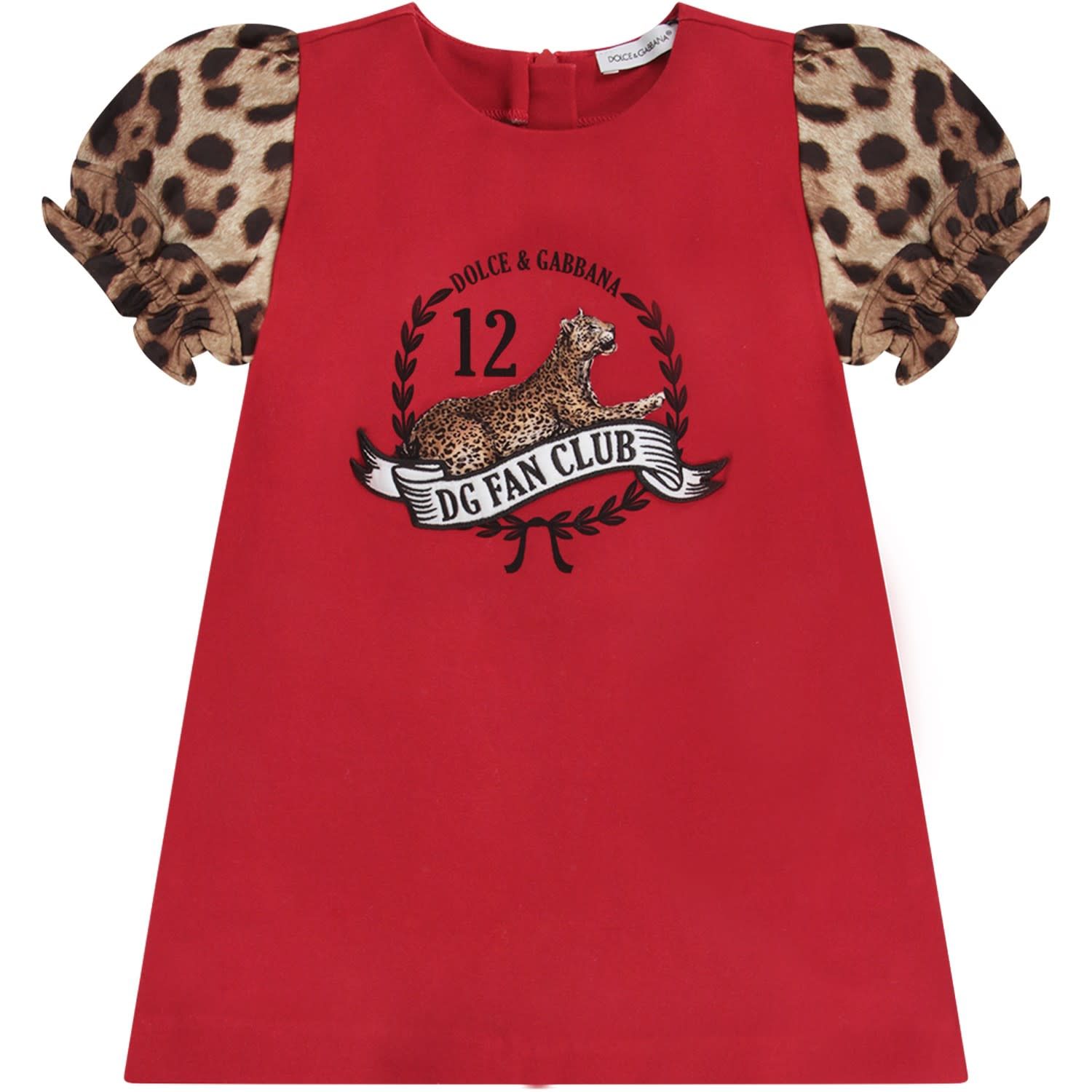 Dolce & Gabbana Red Babygirl Dress With Leopard