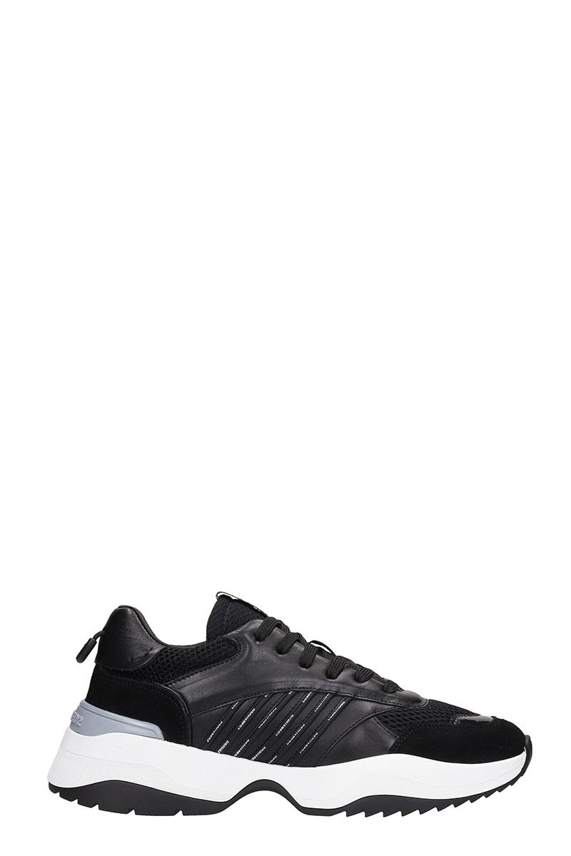 Dsquared2 D24 Sneakers In Black Leather And Fabric