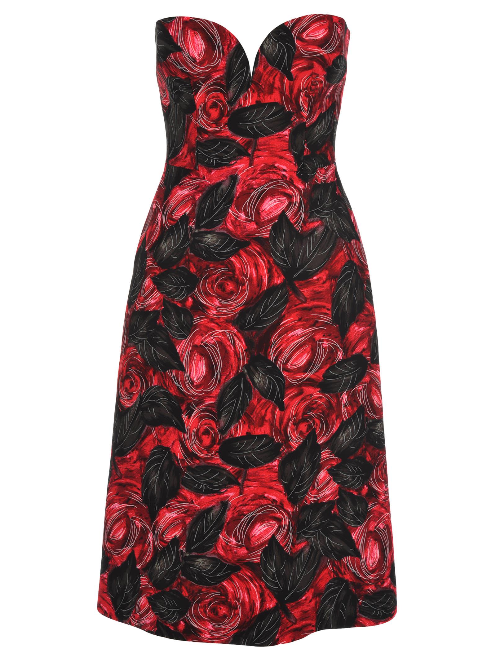 Prada Rose Print Midi Dress