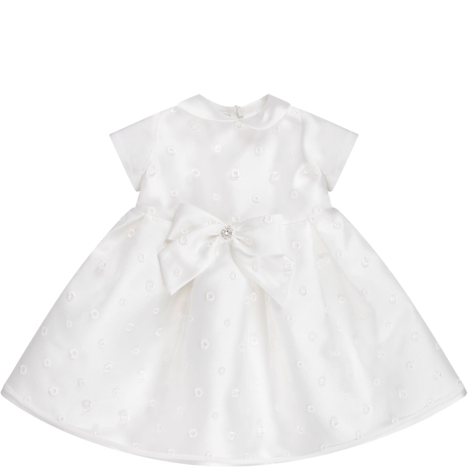 LòLò White Girl Dress With Bow And Rhinestones