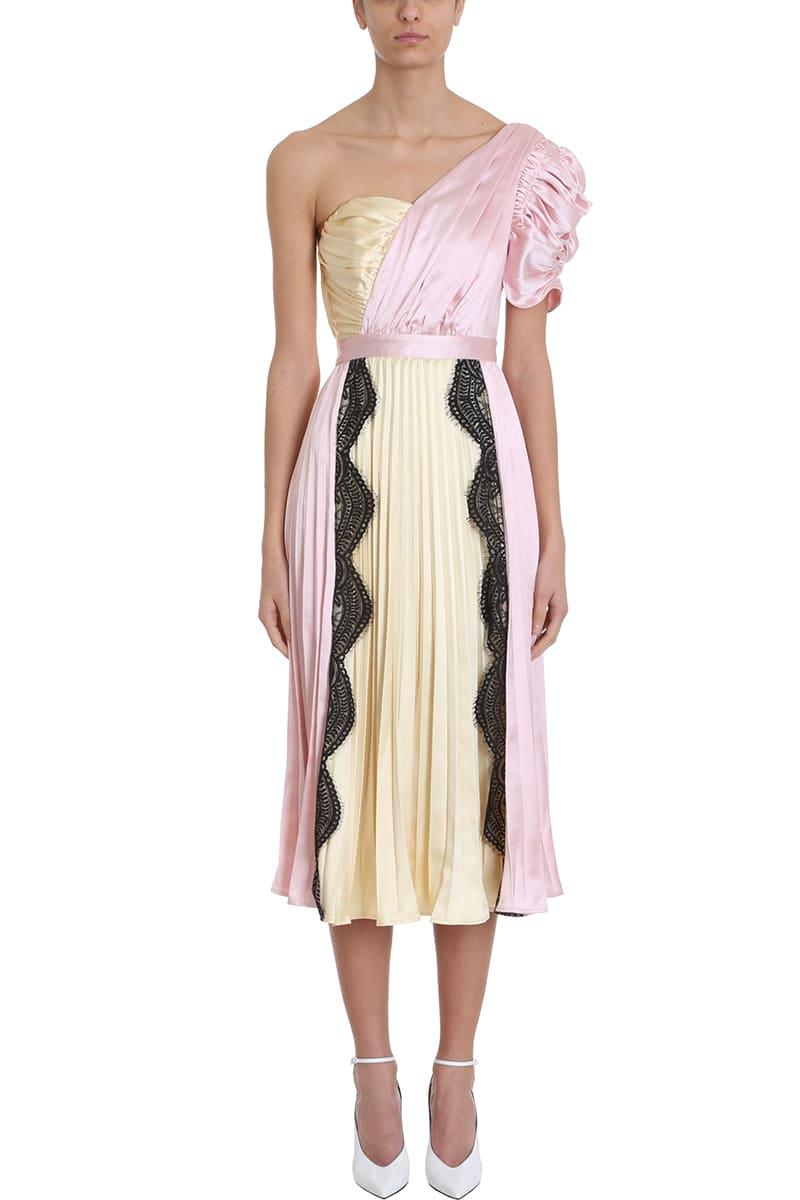 self-portrait One Shoulder Lace Trimmed Midi Dress