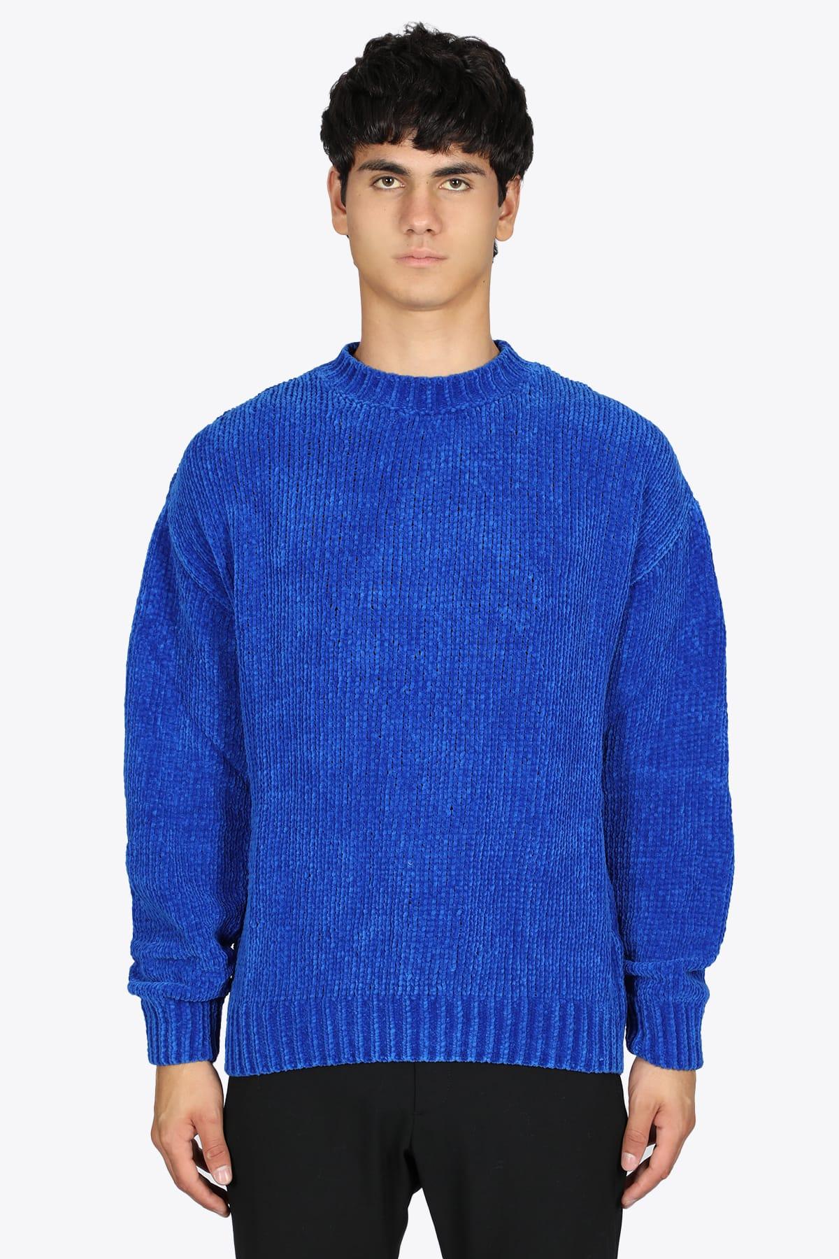 Rib Knit Royal Blue Cenille Sweater