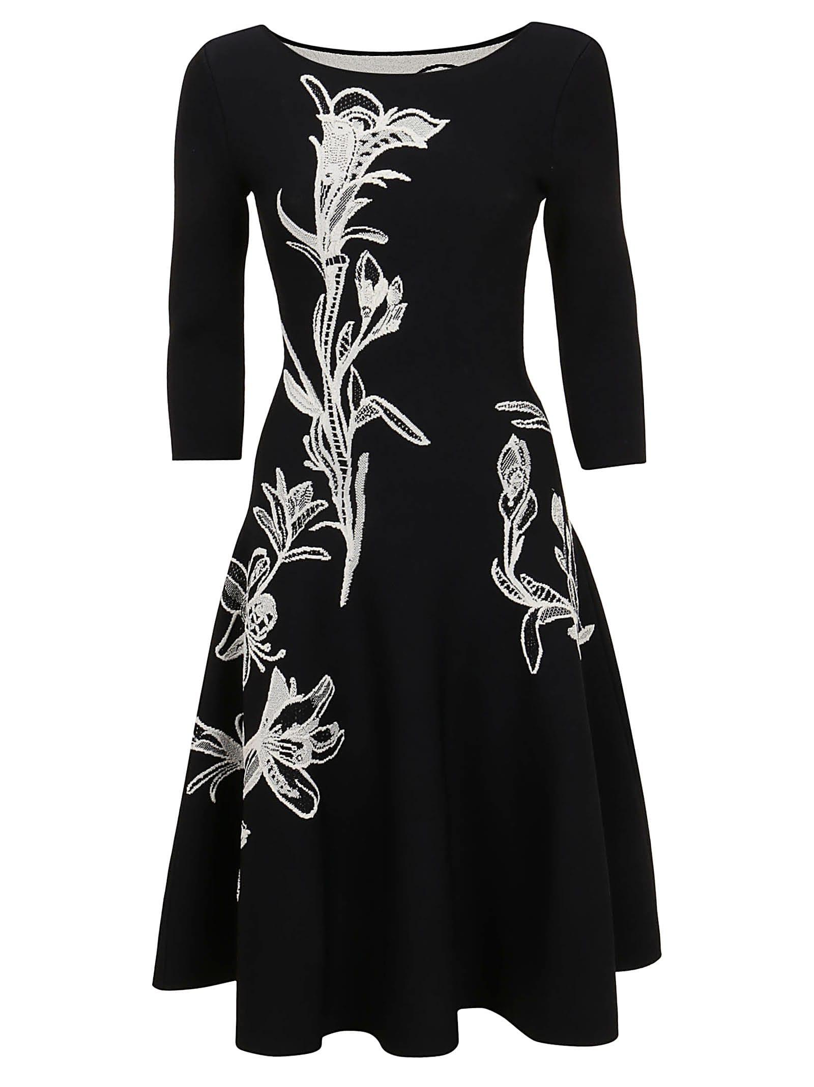 Buy Alexander McQueen Flower Jacquard Midi Dress online, shop Alexander McQueen with free shipping