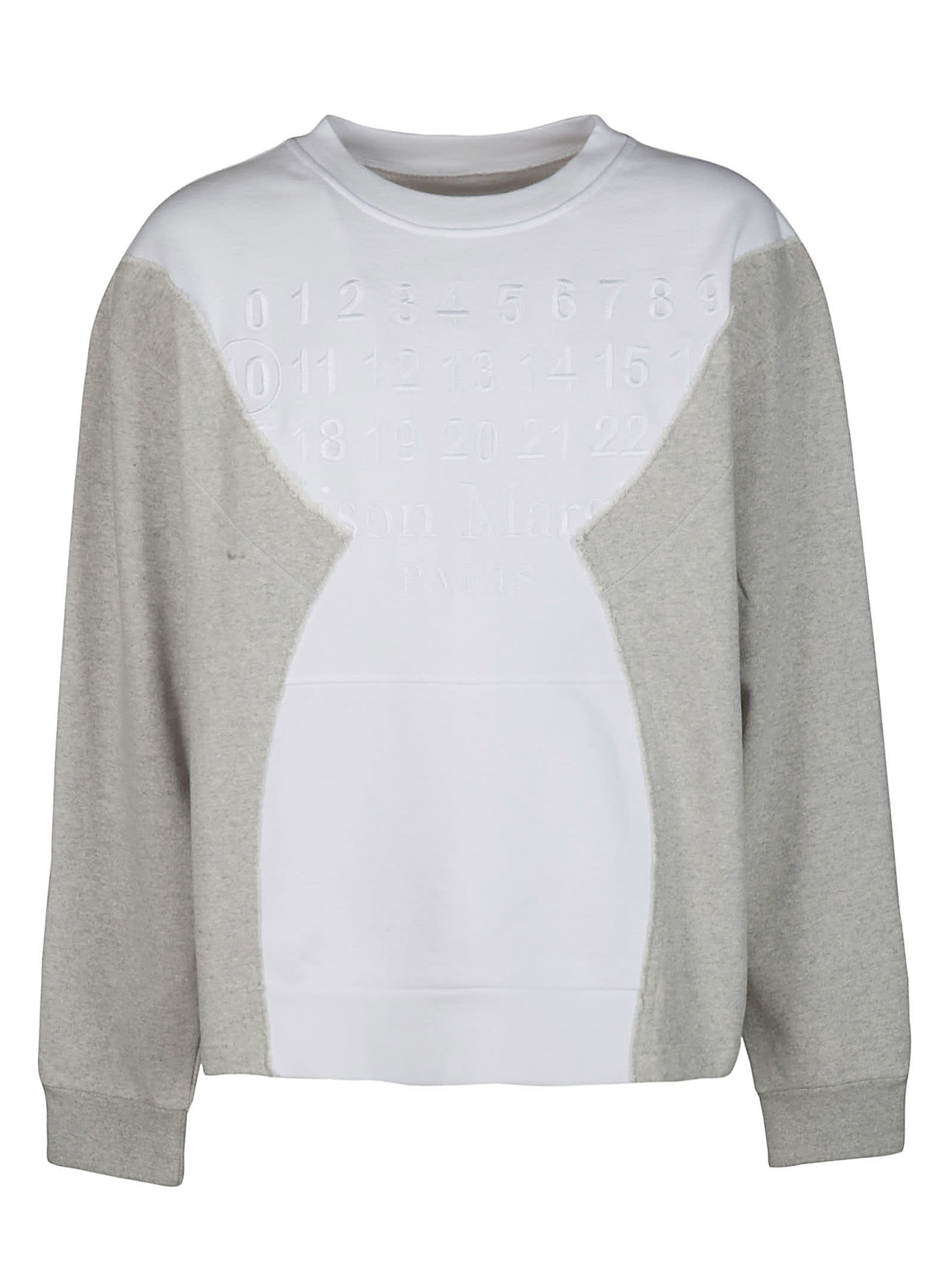 Maison Margiela White And Grey Cotton Sweatshirt