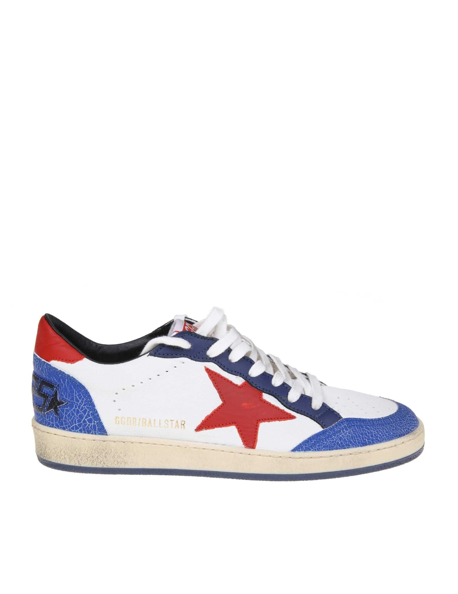 Golden Goose Sneakers Ball Star In White Red Blue Leather