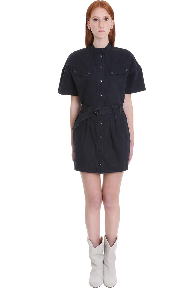 Buy Isabel Marant Étoile Zolina Dress In Black Cotton online, shop Isabel Marant Étoile with free shipping