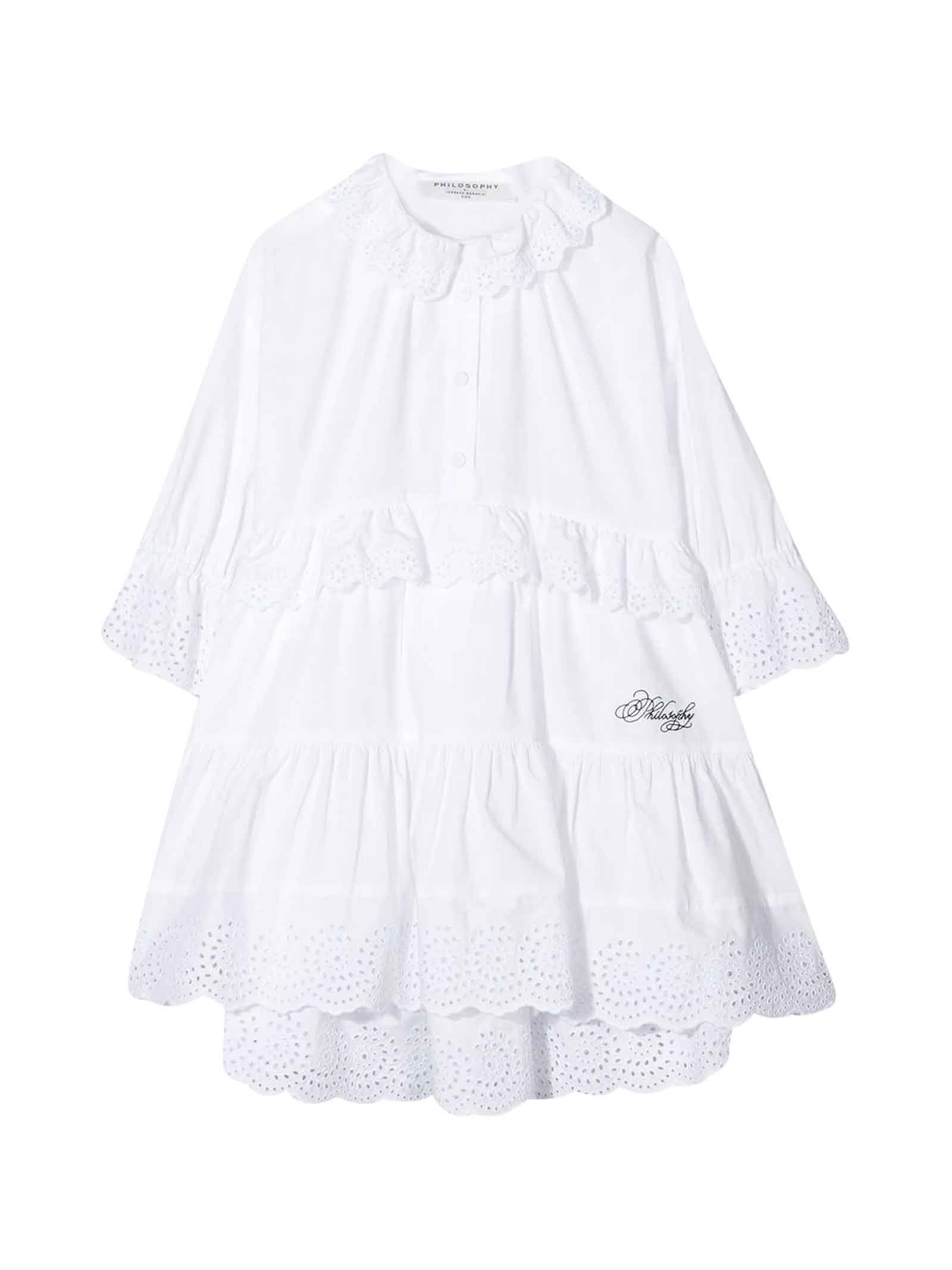 Buy Philosophy di Lorenzo Serafini Kids White Flared Dress With Laces online, shop Philosophy di Lorenzo Serafini Kids with free shipping