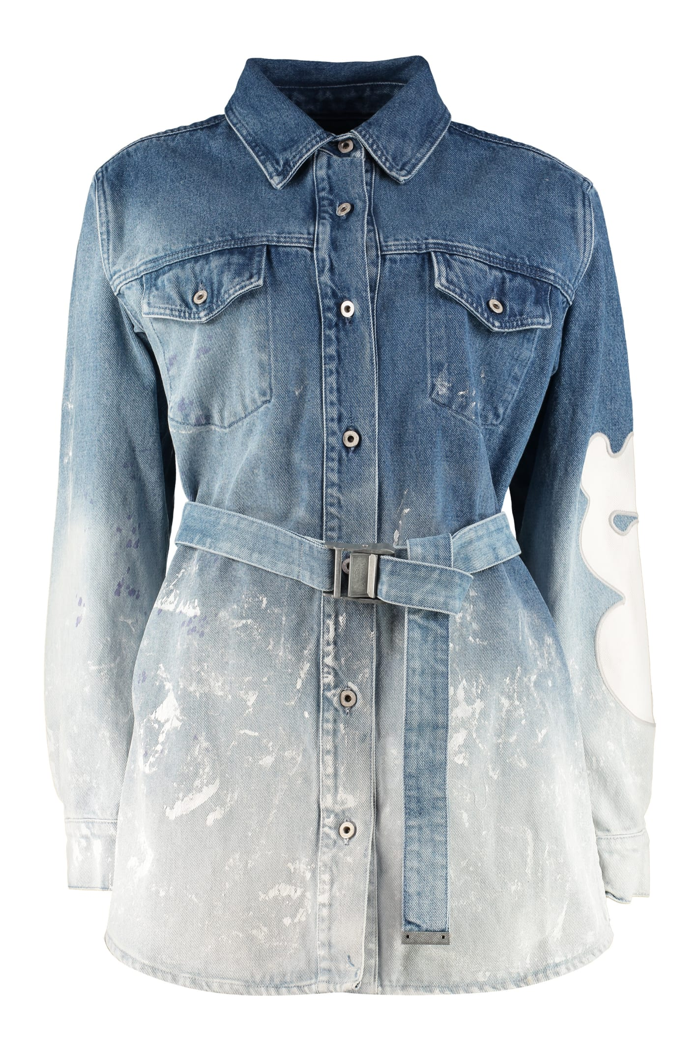 Buy Off-White Denim Shirtdress online, shop Off-White with free shipping