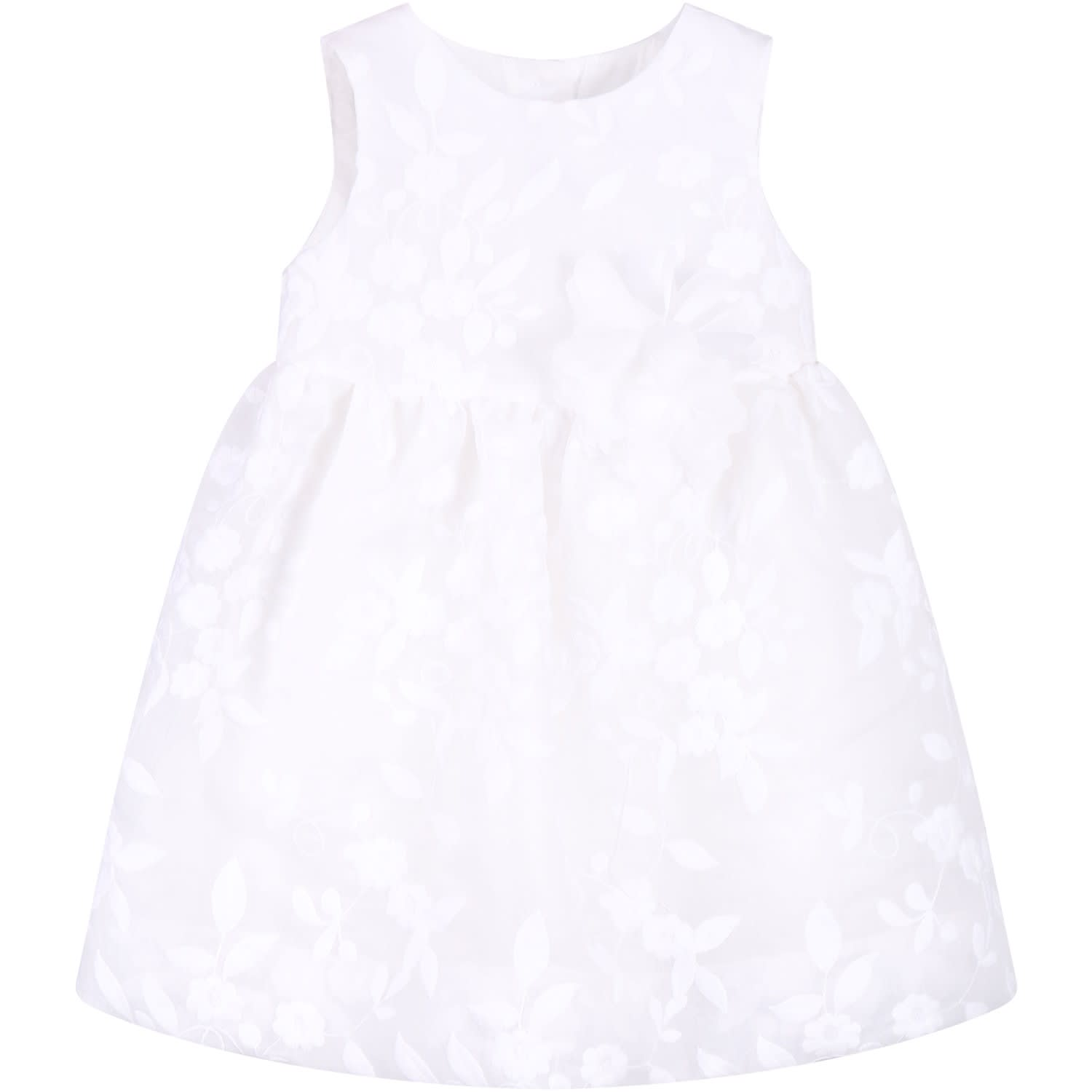 Little Bear Ivory Babygirl Dress With White Flowers
