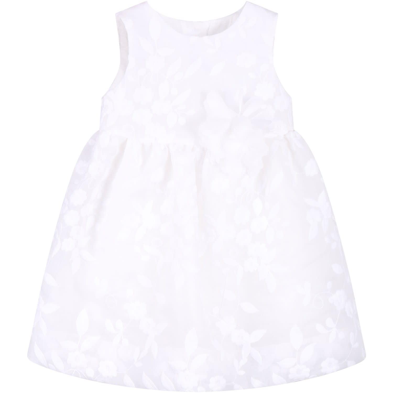 Little Bear Ivory Babygirl Dress With White Flowers