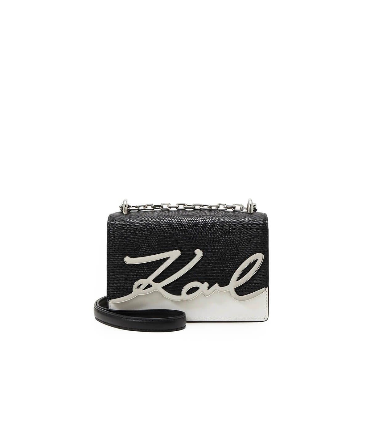 KARL LAGERFELD K/SIGNATURE BLACK WHITE CROSSBODY BAG