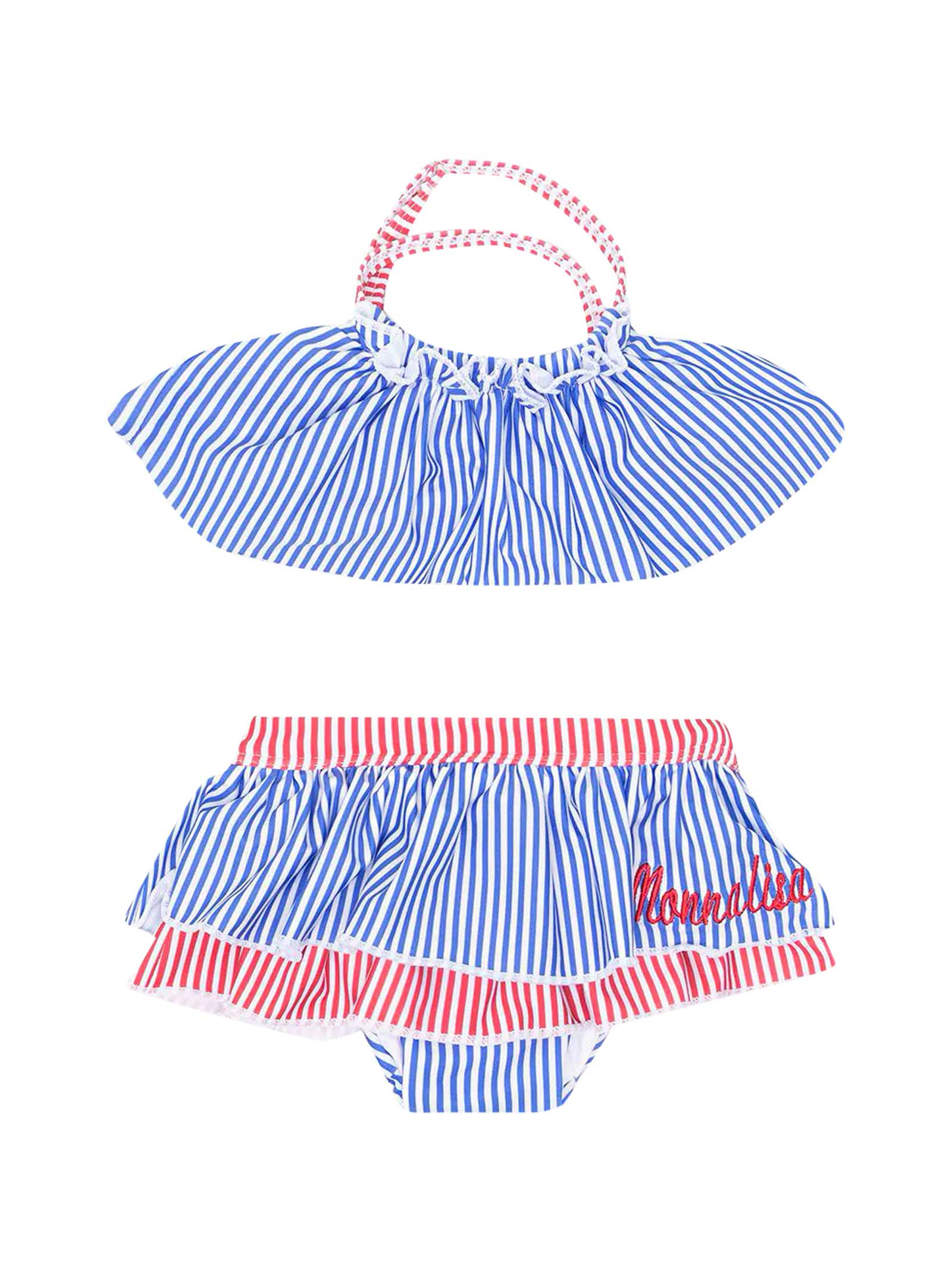 Monnalisa Clothing 2-PIECE SWIMSUIT WITH RED AND BLUE STRIPED PRINT