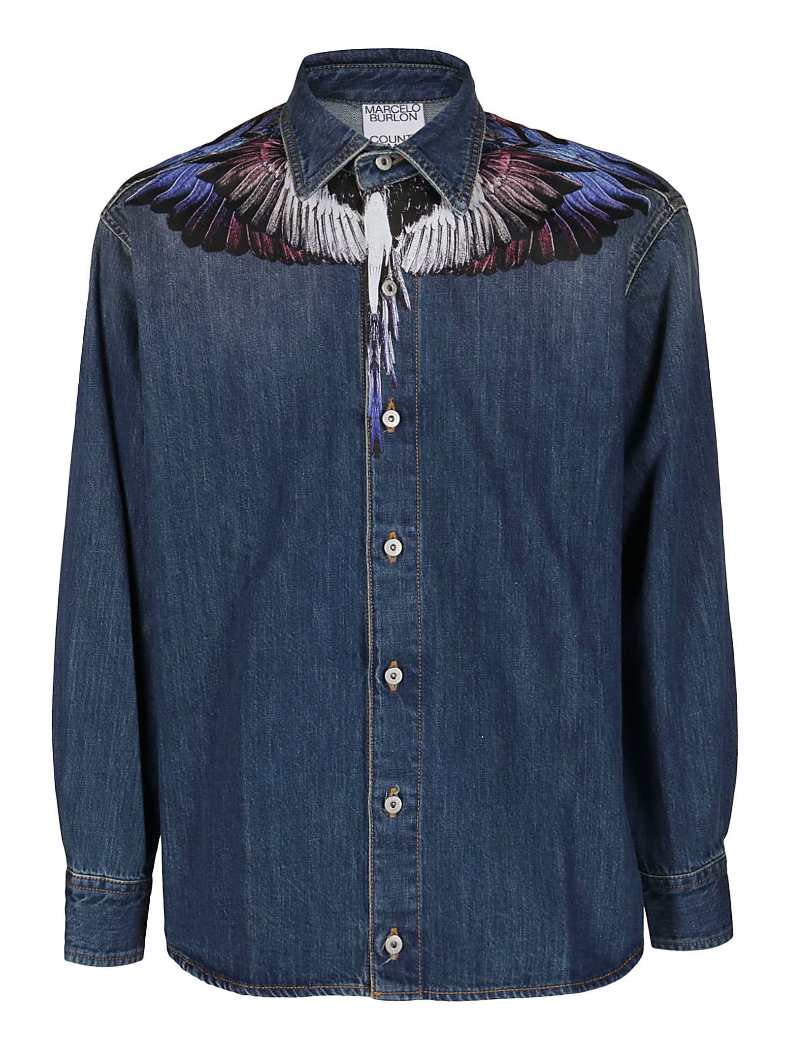 Marcelo Burlon Blue Cotton Shirt