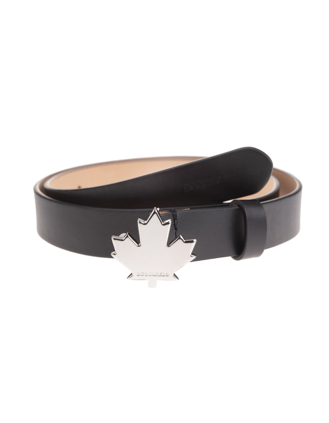 Black Patent Woman Belt With Maple Leaf