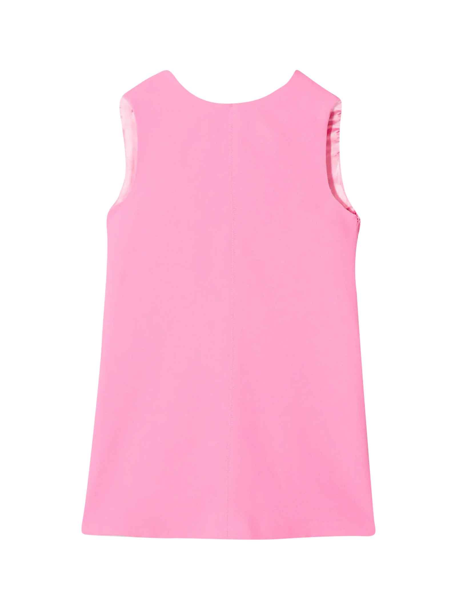 Buy Elisabetta Franchi La Mia Bambina Pink Dress With Scallop online, shop Elisabetta Franchi La Mia Bambina with free shipping