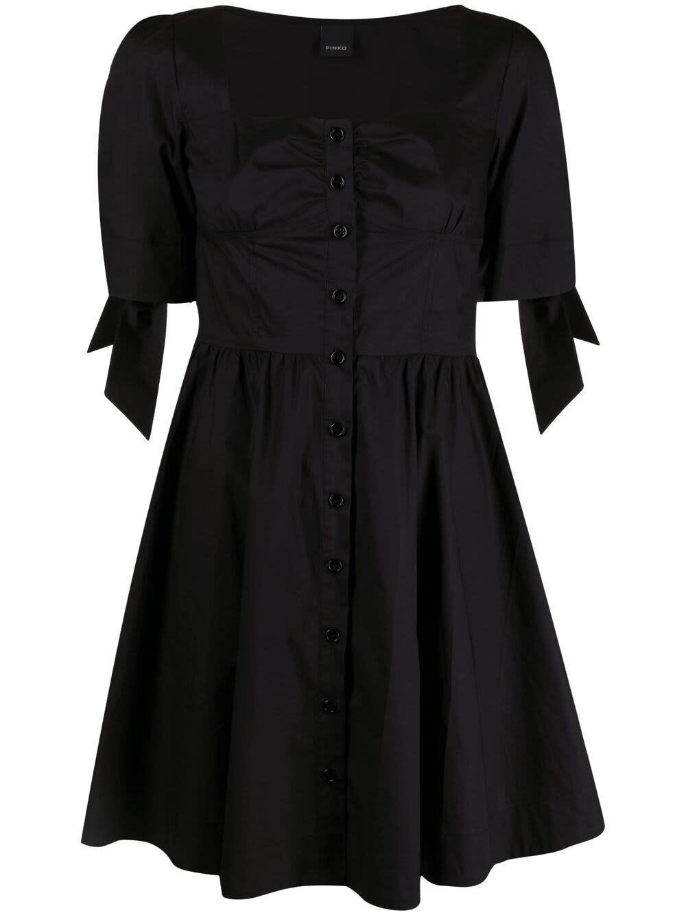 Pinko BLACK COTTON POPLIN DRESS WITH BOWS