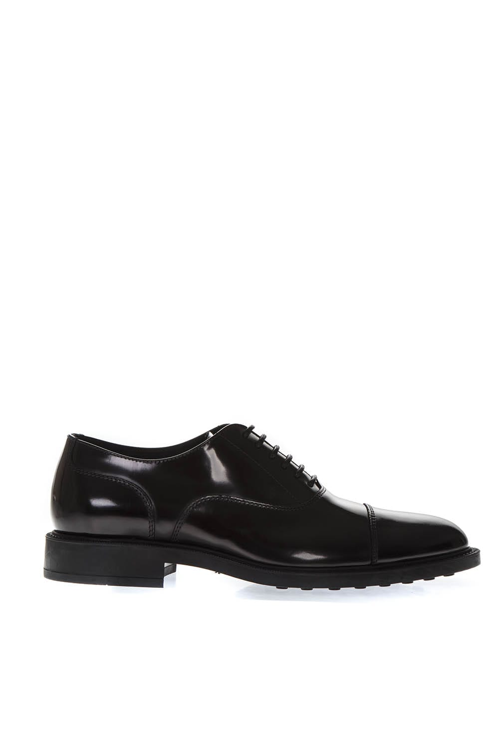 Tods Black Classic Laced Up Shoes In Leather