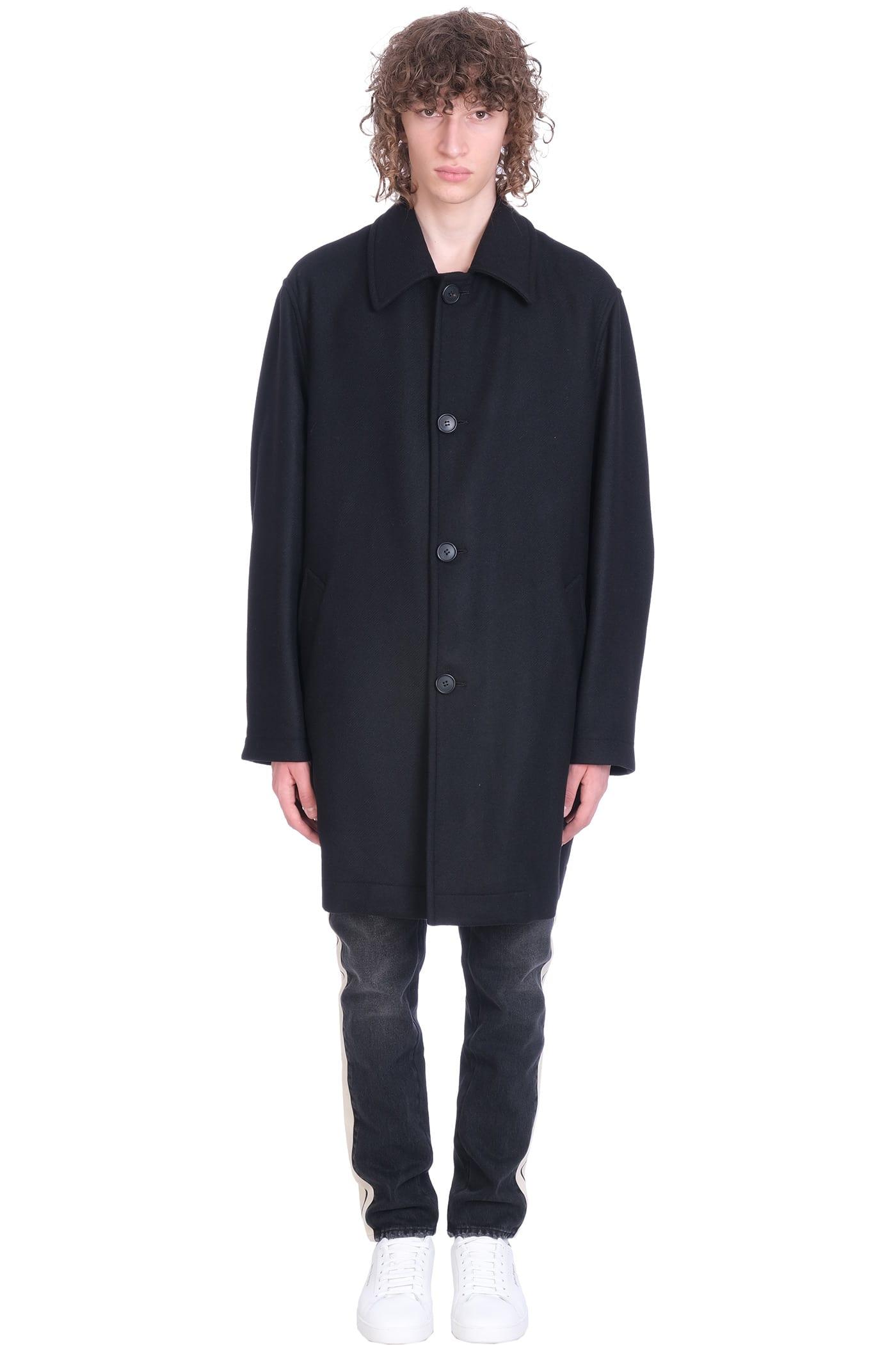 Palm Angels Coat In Black Wool