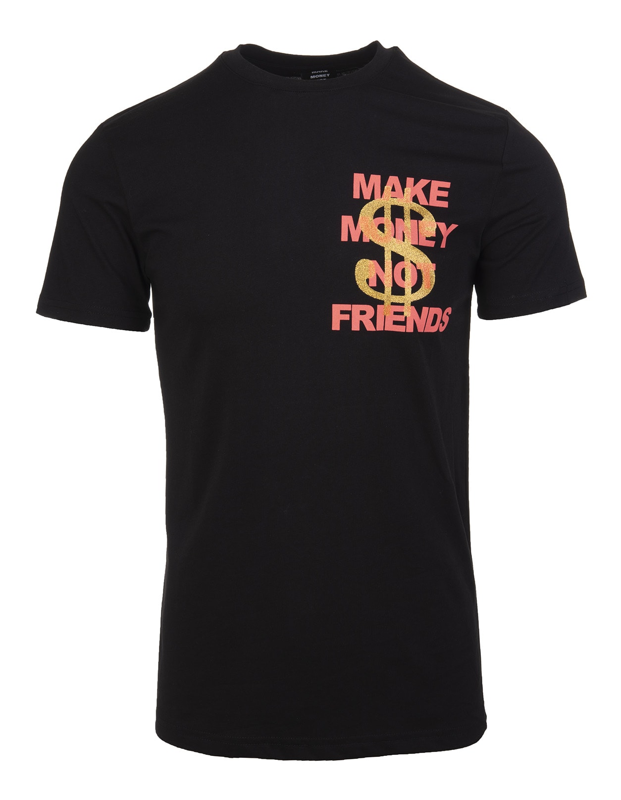 Black T-shirt With Coral Pink Logo And Golden Glitter Dollar
