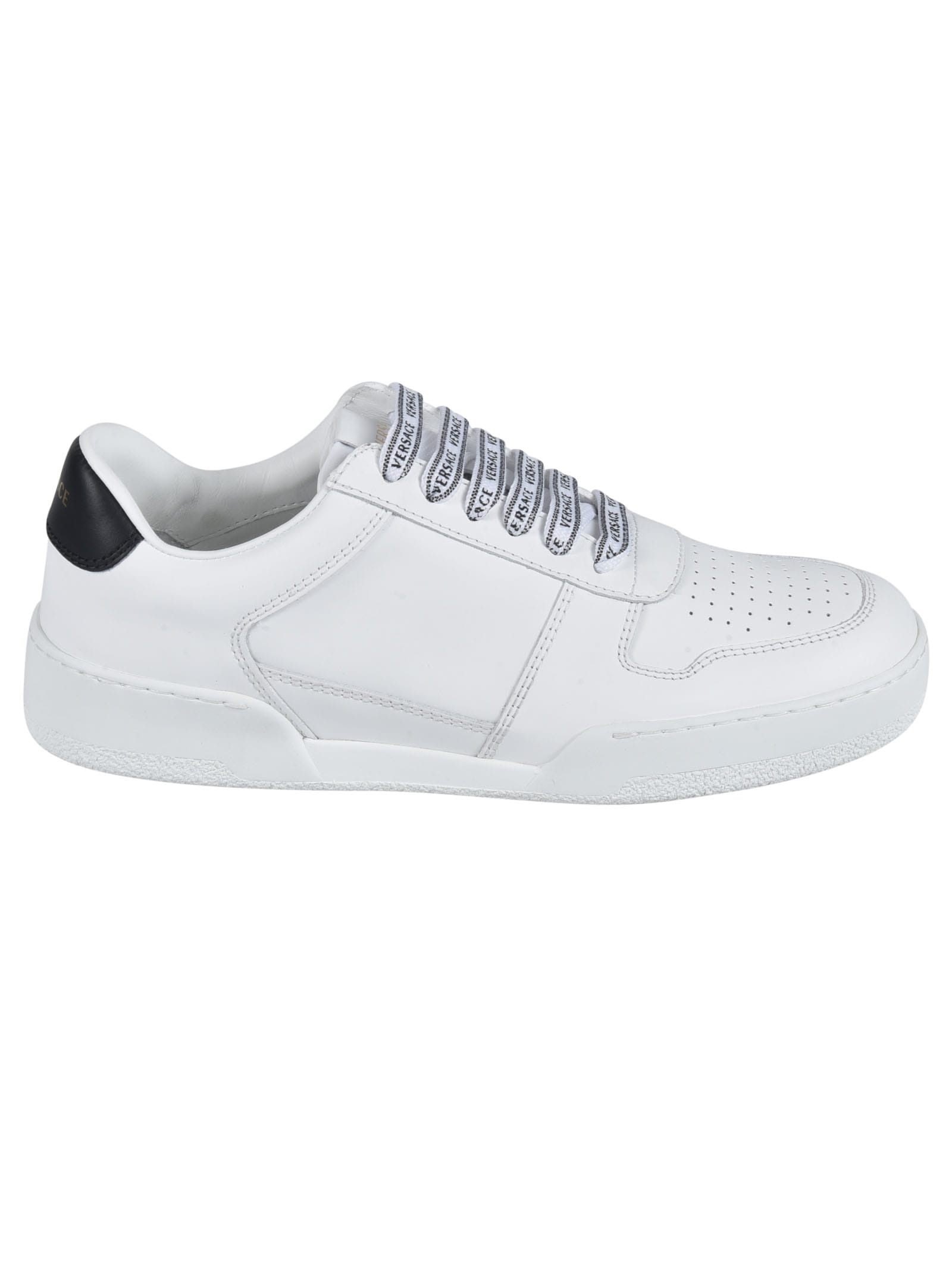 Versace Leathers PERFORATED DETAIL LOGO LACE SNEAKERS