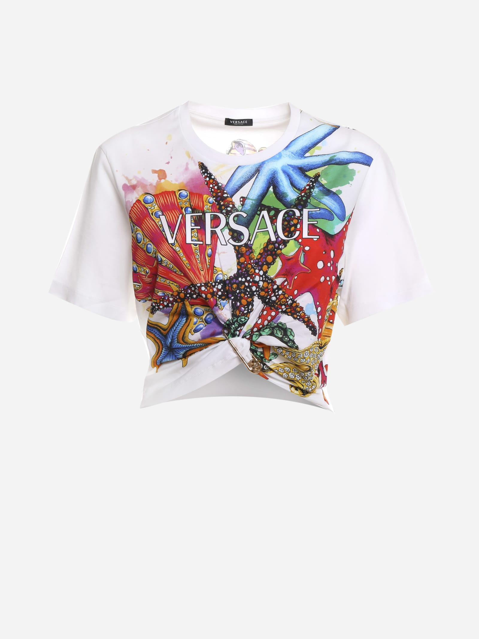 Versace CROPPED T-SHIRT WITH SAFETY PIN AND TRÉSOR DE LA MER PRINT