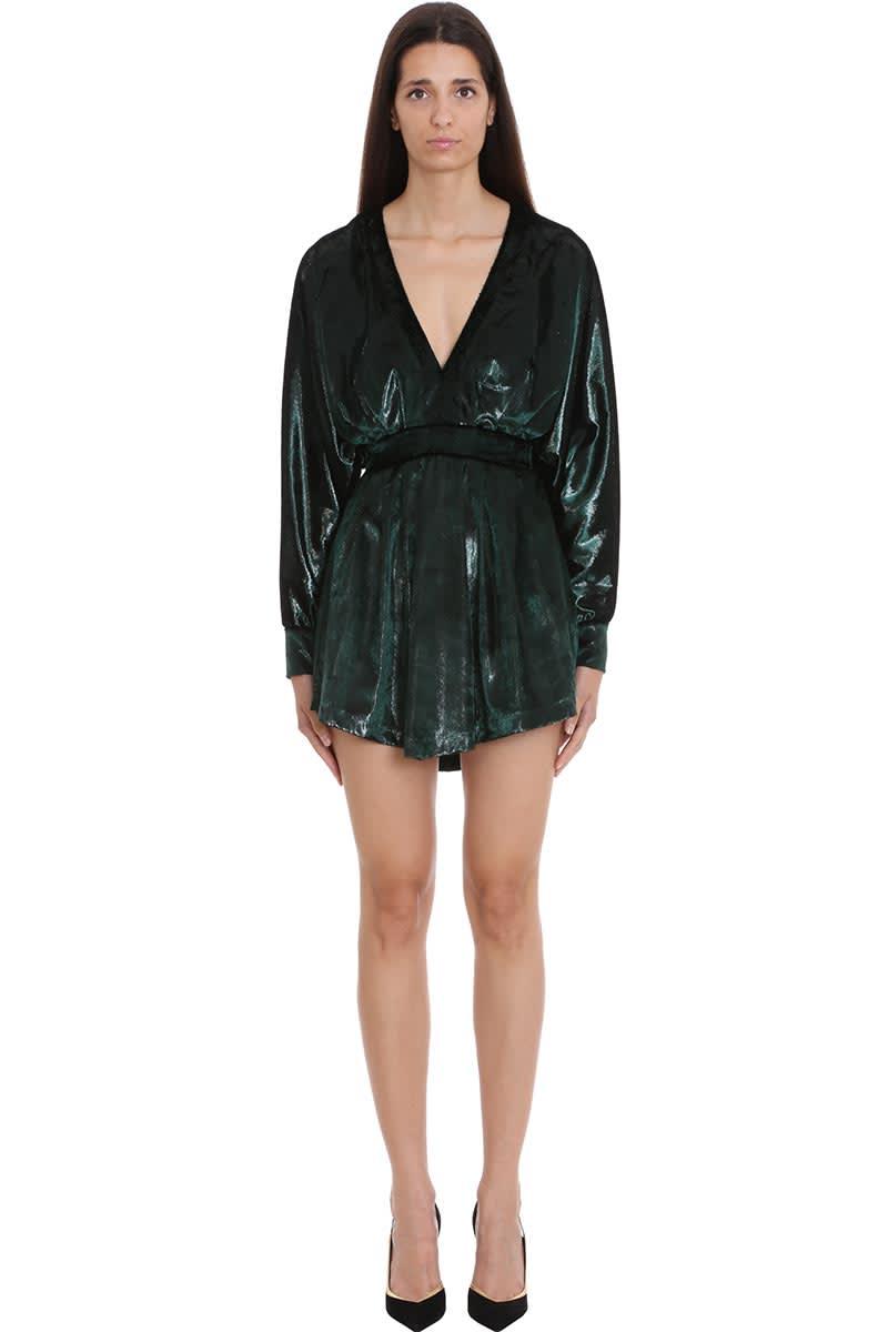 Balmain Dress In Green Velvet