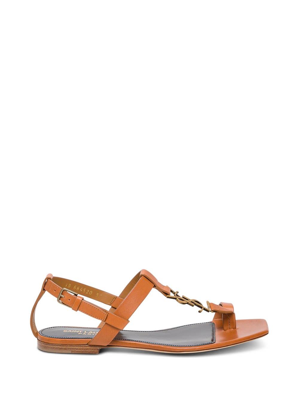 Saint Laurent Cassandra Sandals In Brown Leather With Golden Monogram