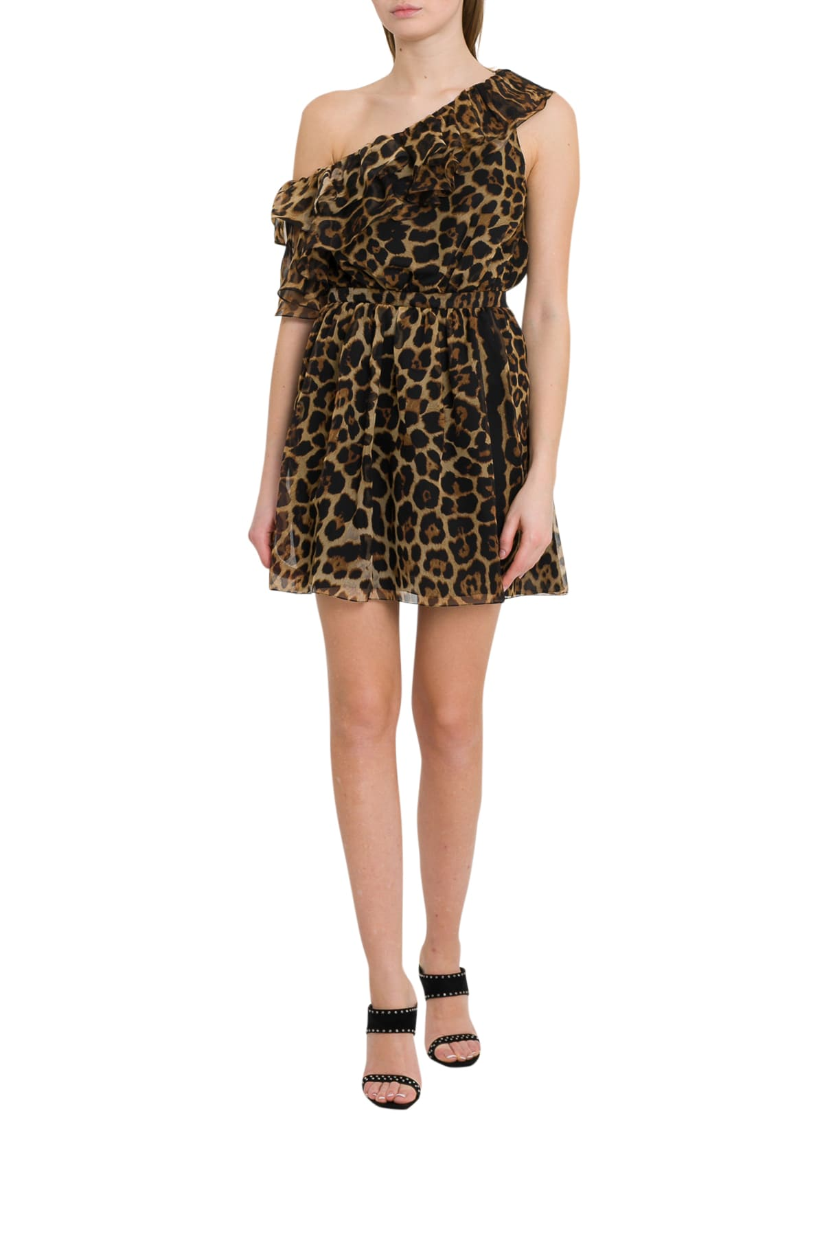 Saint Laurent One-shoulder Dress With Leopard Print