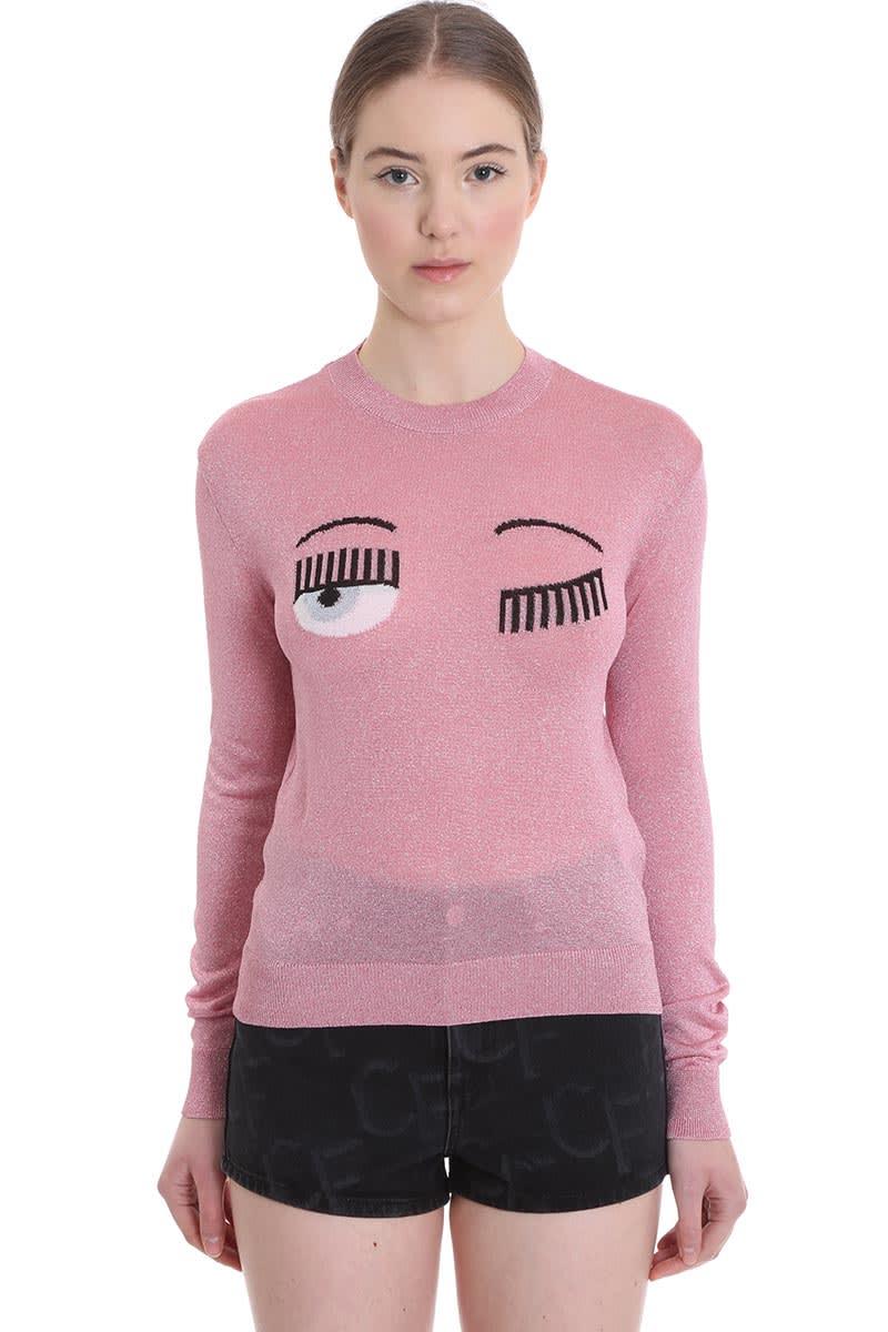 Chiara Ferragni Knitwear In Rose-pink Tech/synthetic