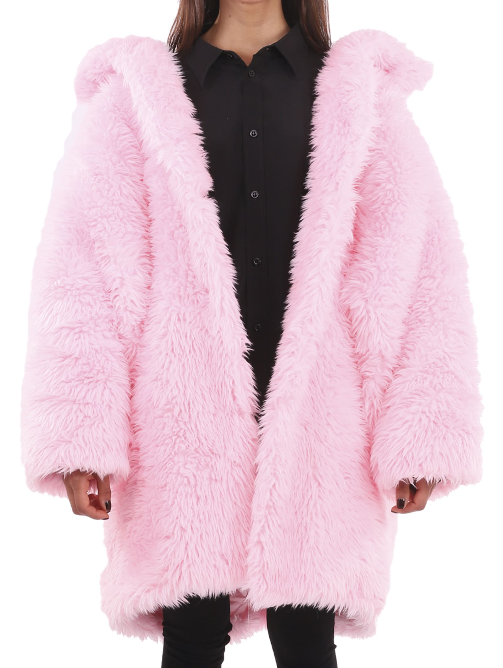 Balenciaga Pink Swing Fake Fur Coat