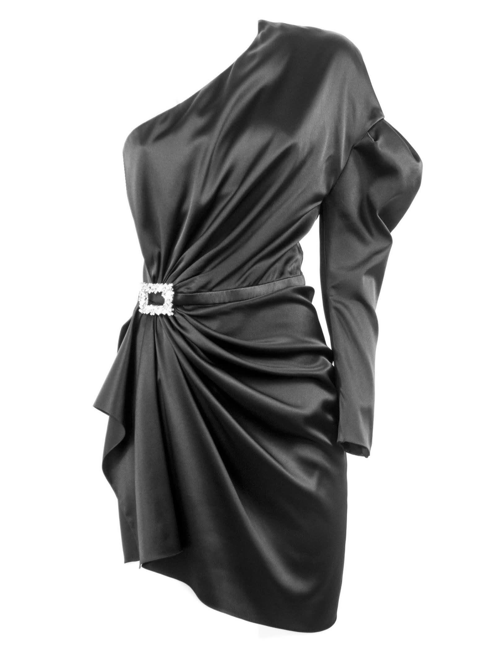 Photo of  Alexandre Vauthier Black Silk Blend Mini Dress- shop Alexandre Vauthier  online sales