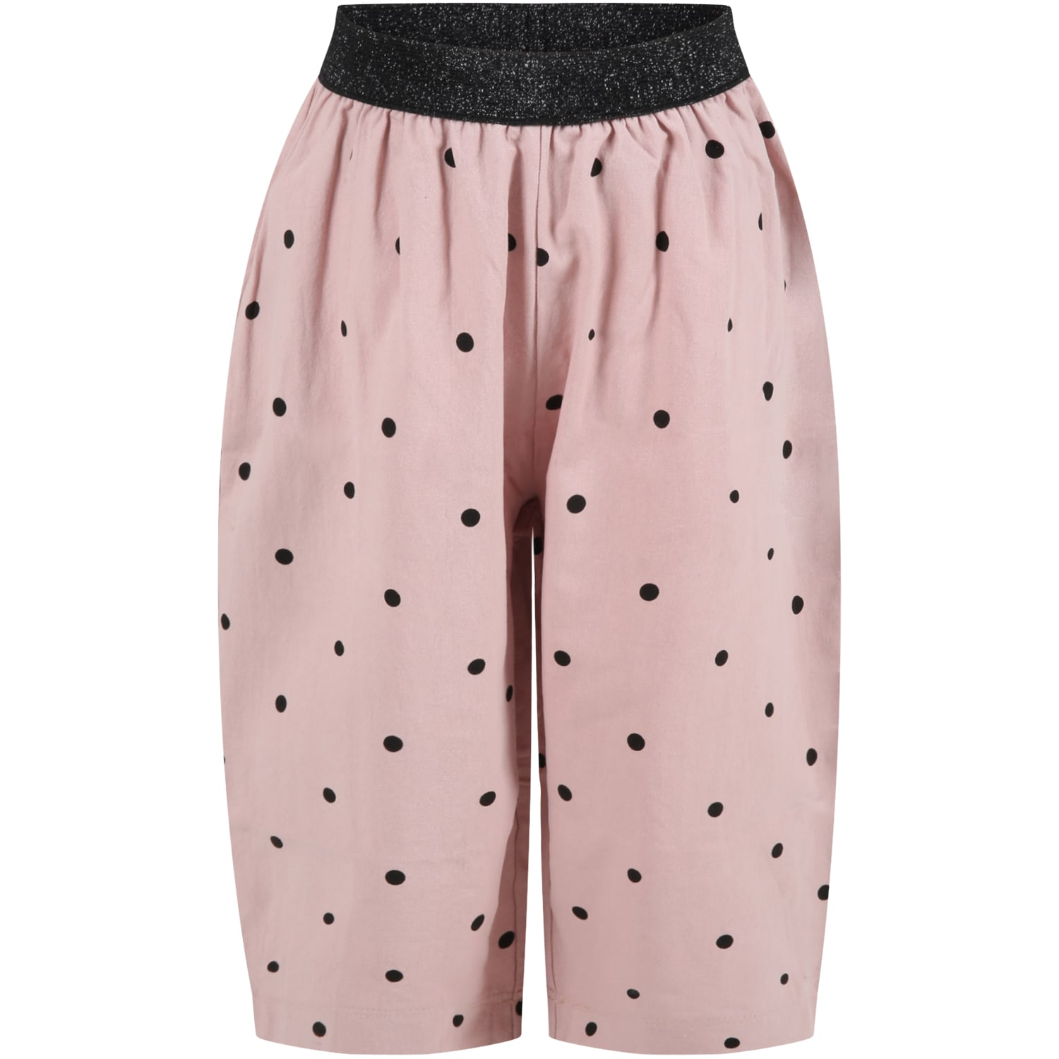 Caffe dOrzo Pink dina Trousers For Girl With Black Polka Dots