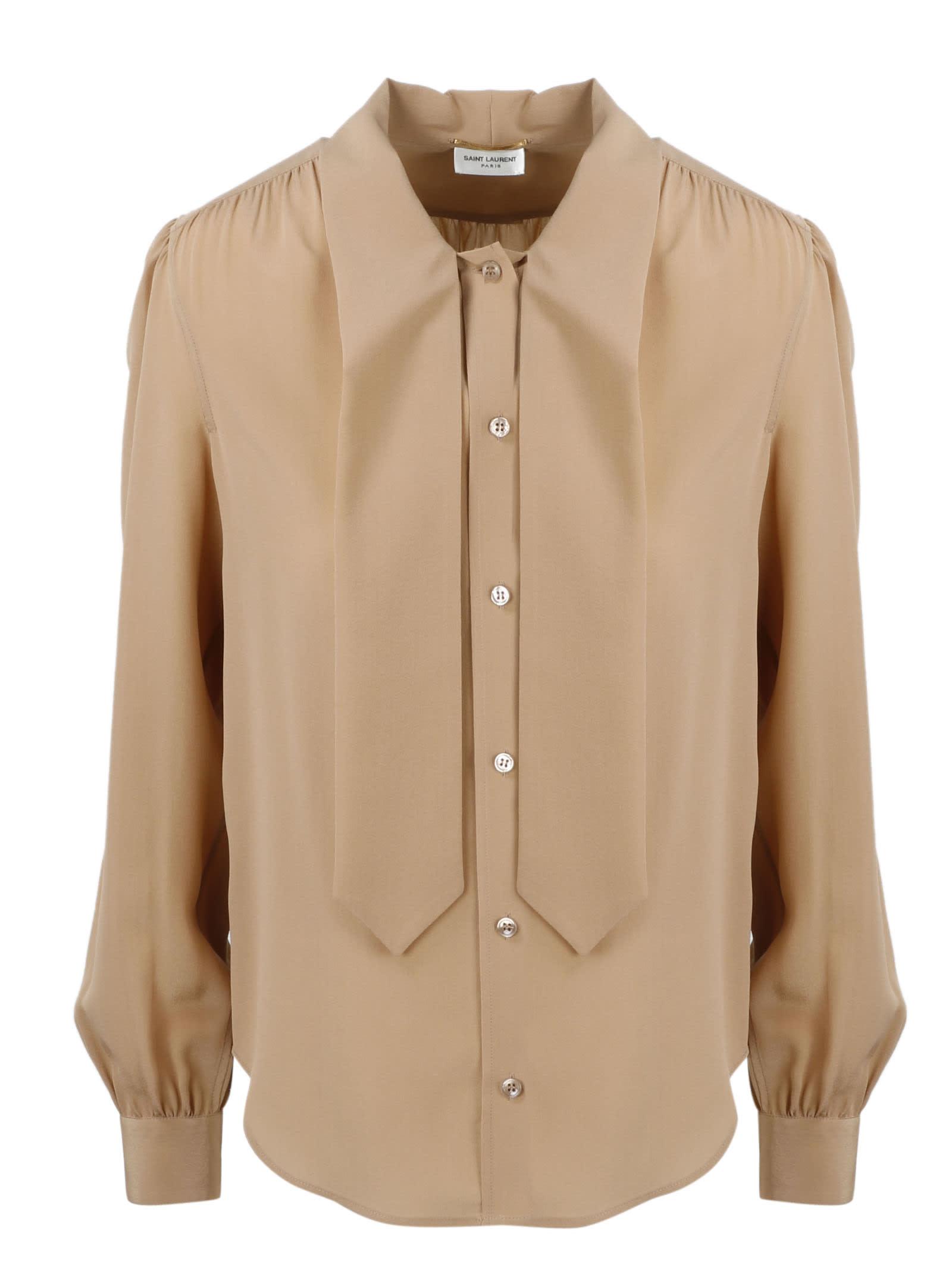 Saint Laurent Crepe De Chine Shirt In Brown