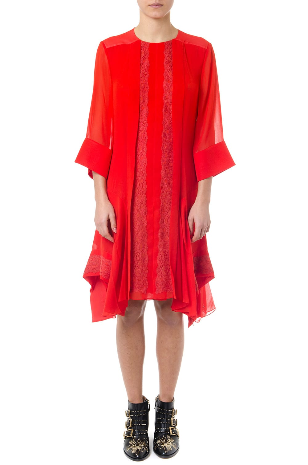 Chloé Red Embroidery Lace Flounces Dress