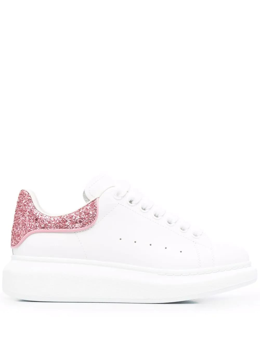 Alexander McQueen Woman White Oversize Sneakers With Pink Glitter Spoiler