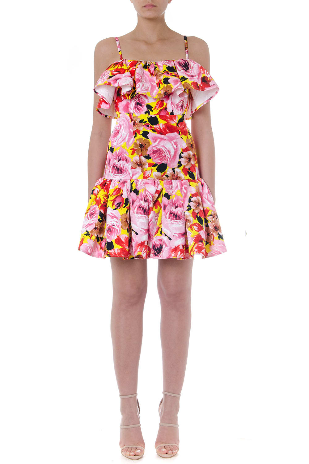 MSGM Short Multicolor Flower Flounced Dress