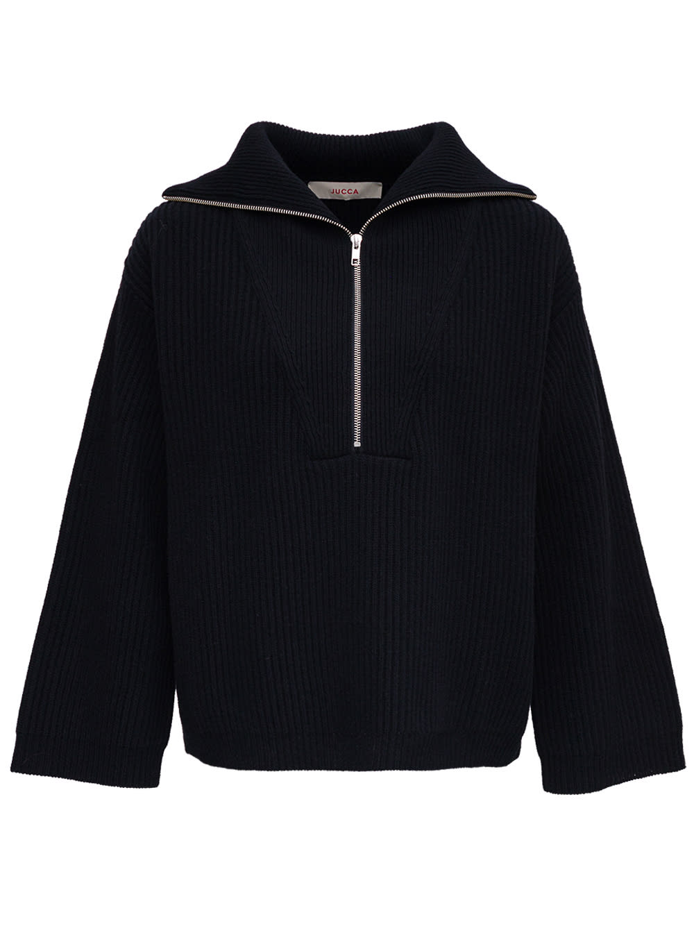 Black Wool Sweater With Wide Neckline And Zip