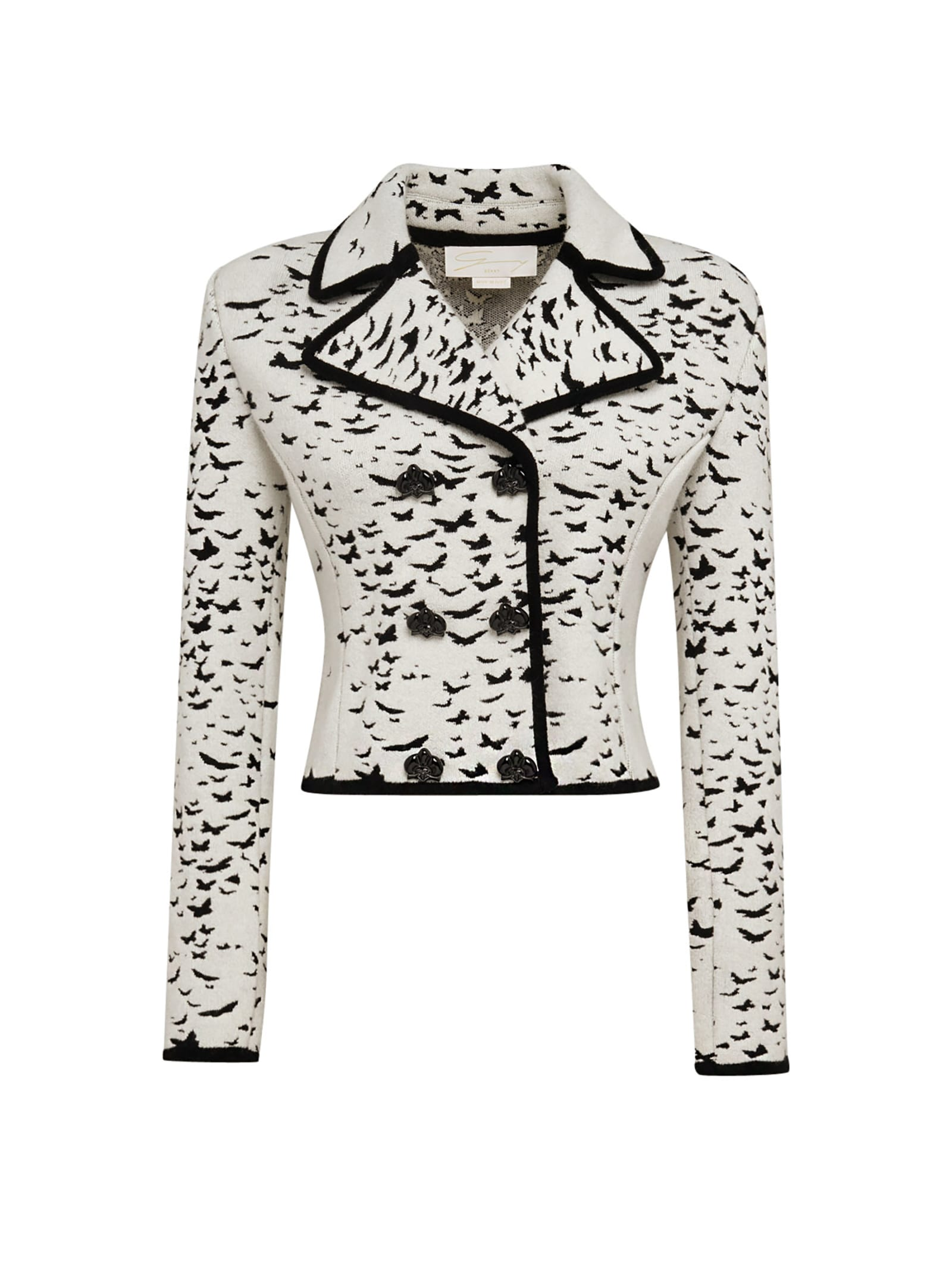 Cropped Double-breasted Blazer With Butterflies