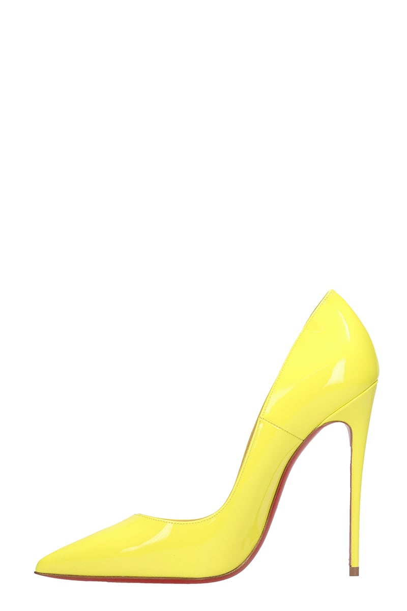 finest selection 24912 dad36 Christian Louboutin So Kate 120 Yellow Patent Leather Pumps