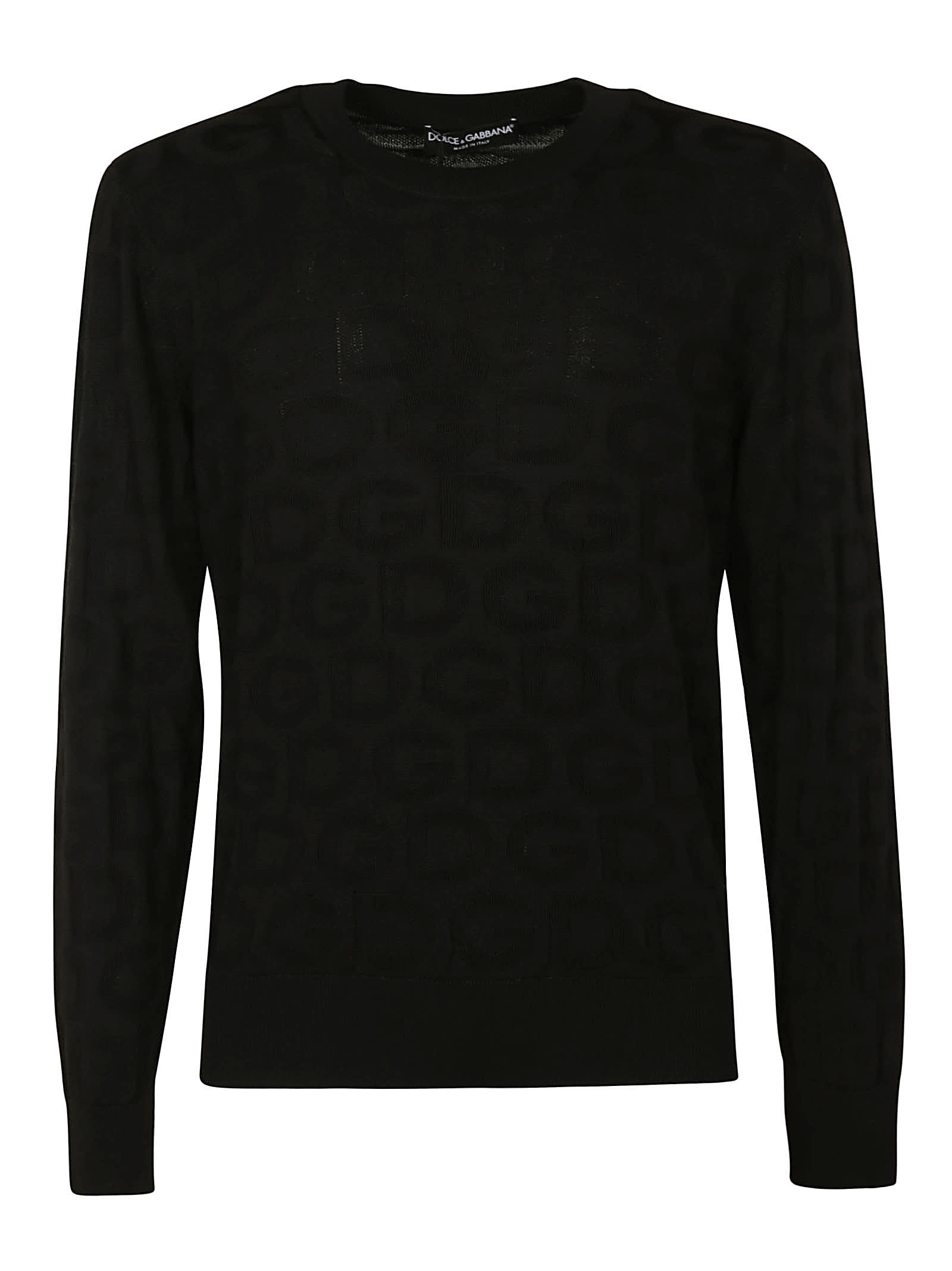 Dolce & Gabbana Silks ALL-OVER LOGO EMBROIDERED SWEATER