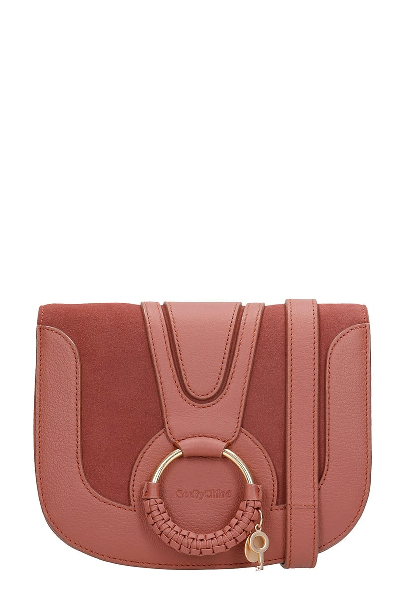 See by Chloé Hana Shoulder Bag In Bordeaux Suede And Leather