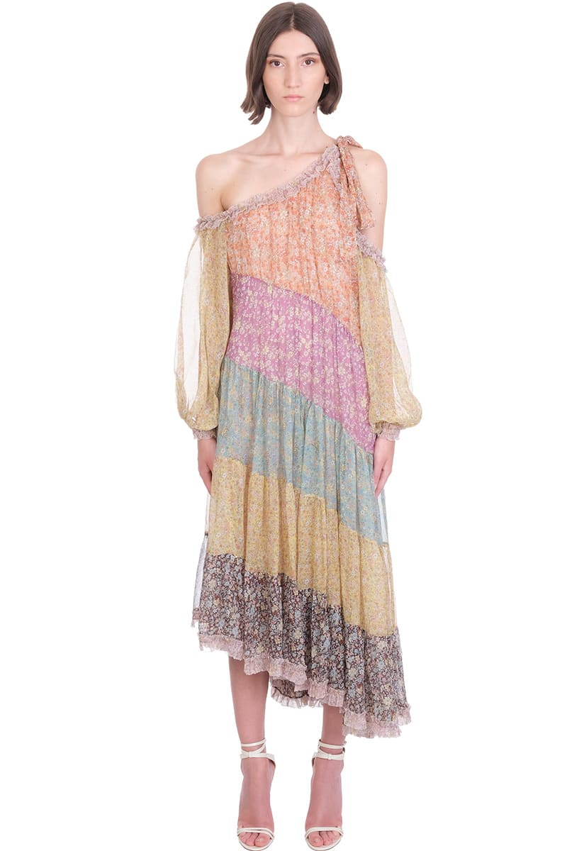 Buy Zimmermann Carnaby Frill Dress In Multicolor Silk online, shop Zimmermann with free shipping