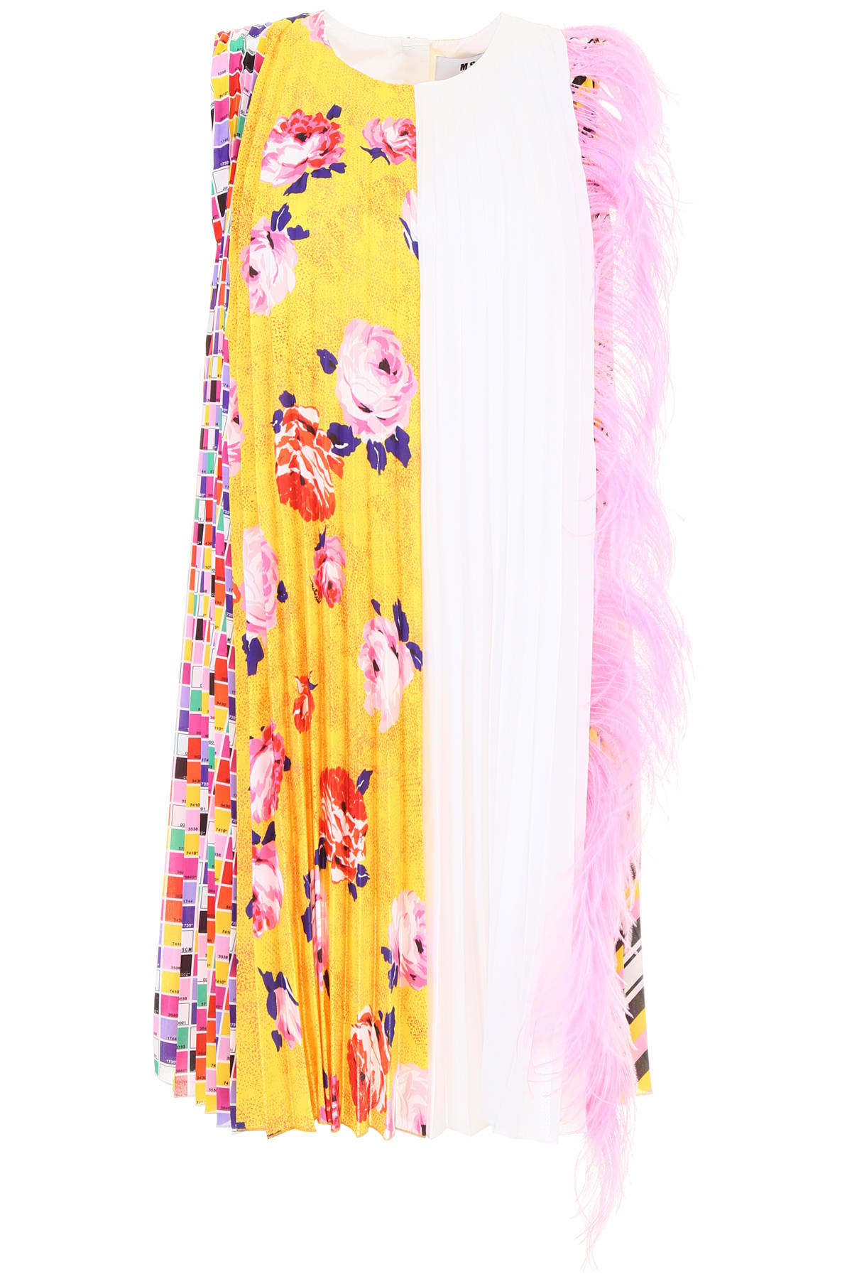 MSGM Multicolor Dress With Feathers