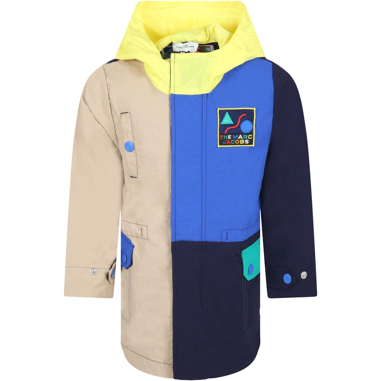 Multicolor Parka Jacket For Boy With Logo