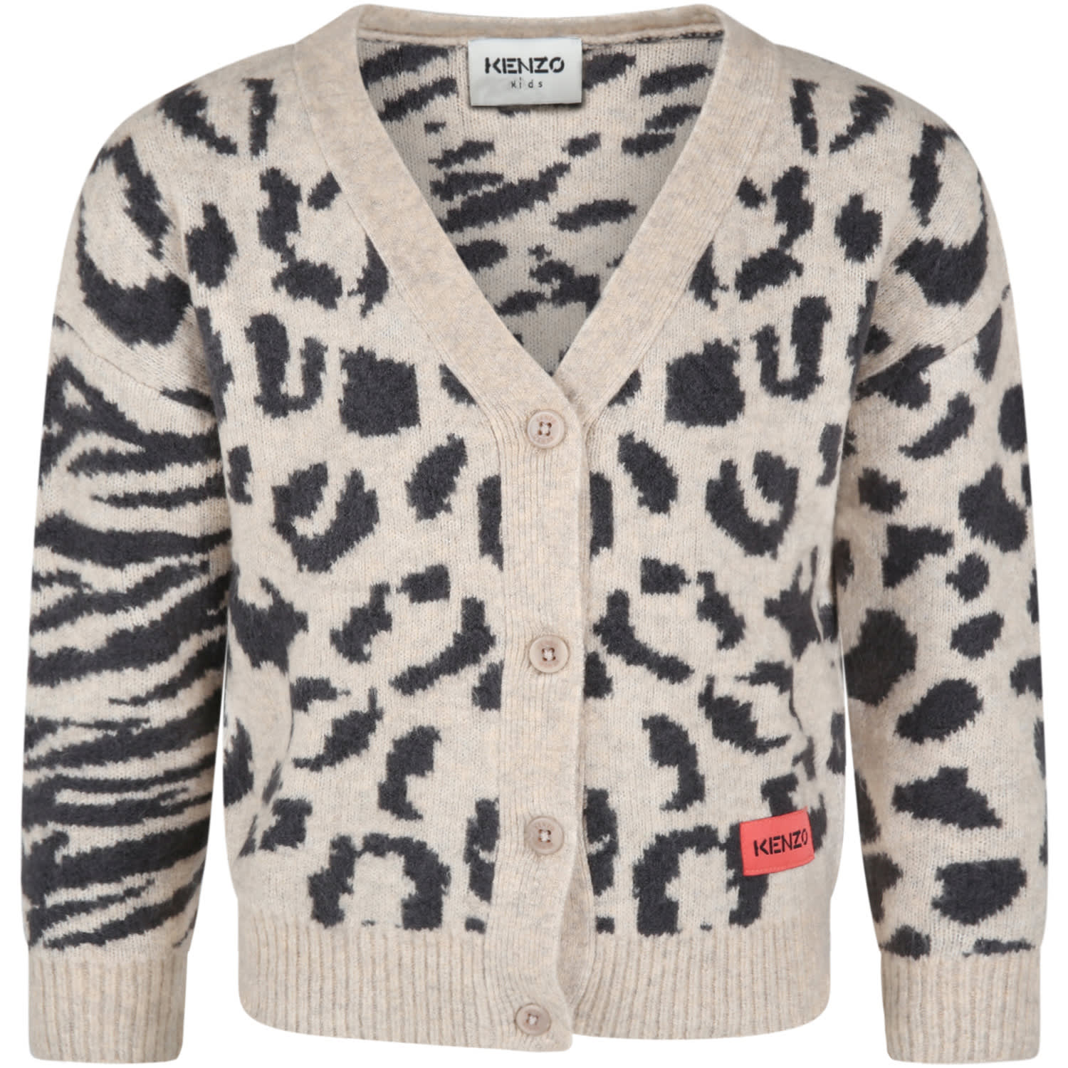 Beige Cardigan For Girl With Logo