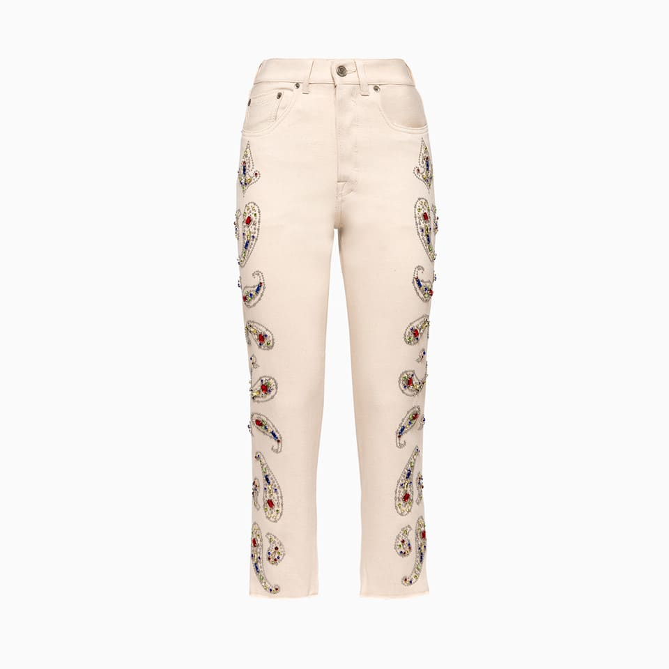 texas 5-pocket pants in solid color gabardine cotton. high waistband with belt loops and rear label. front logo buttons and logo buttons. paisley embroidery decoration at front with rhinestones and jewel studs. slightly frayed bottom. regular fit. composition: 100% cotton.